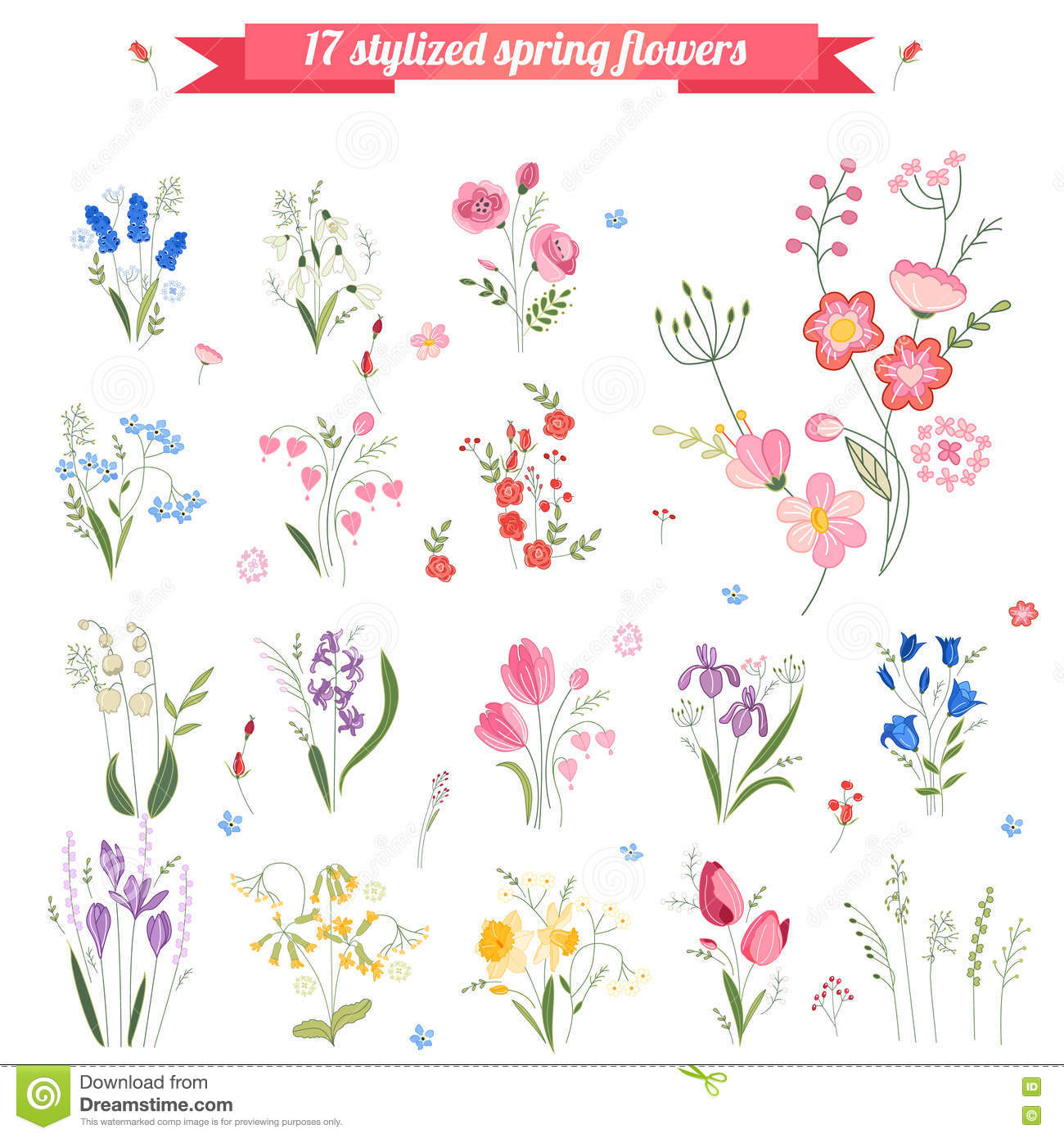 Collection of different stylized spring flowers stock illustration download collection of different stylized spring flowers stock illustration illustration of flora draw mightylinksfo