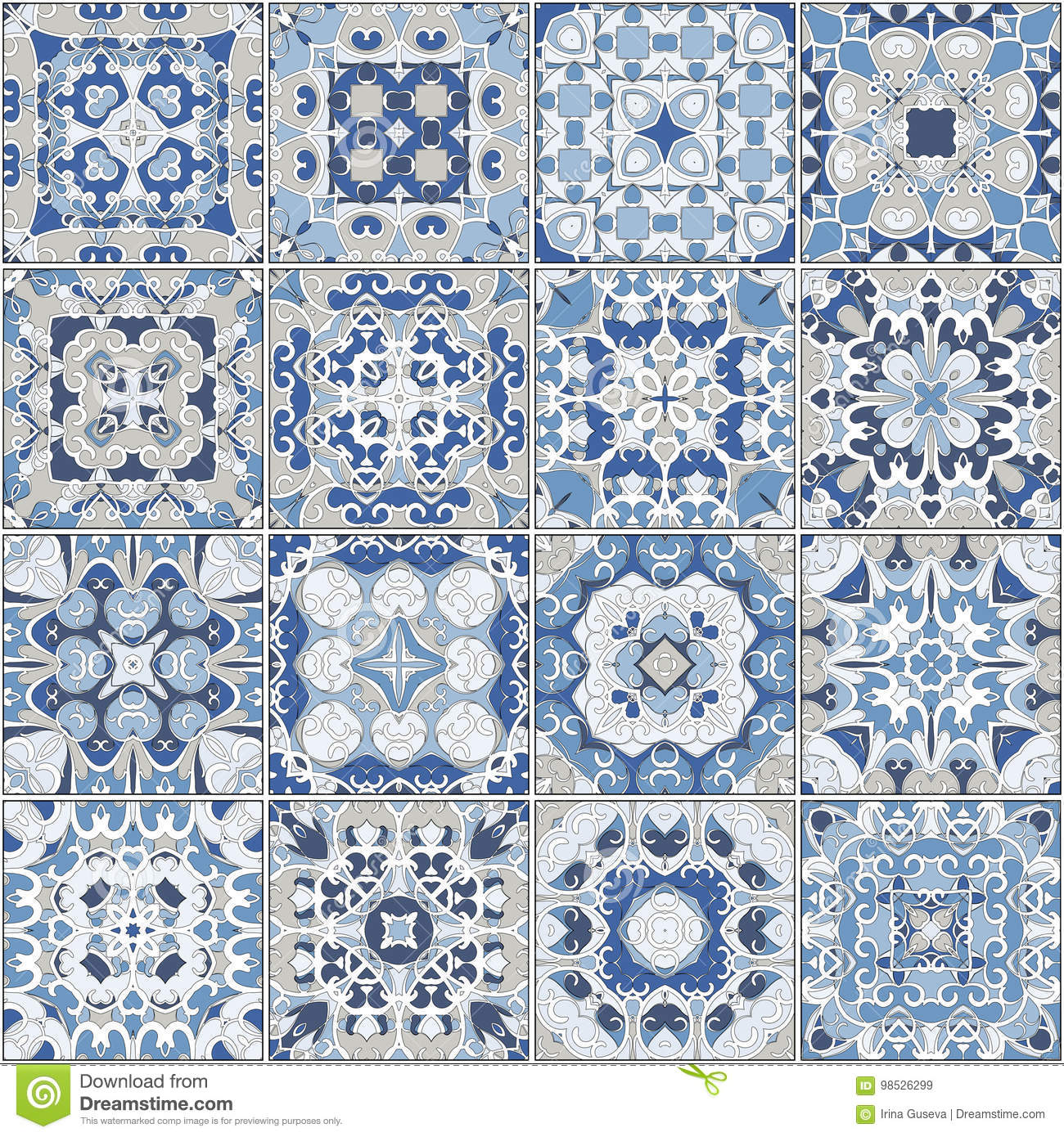Collection Of Different Vintage Tiles Stock Vector - Illustration of ...