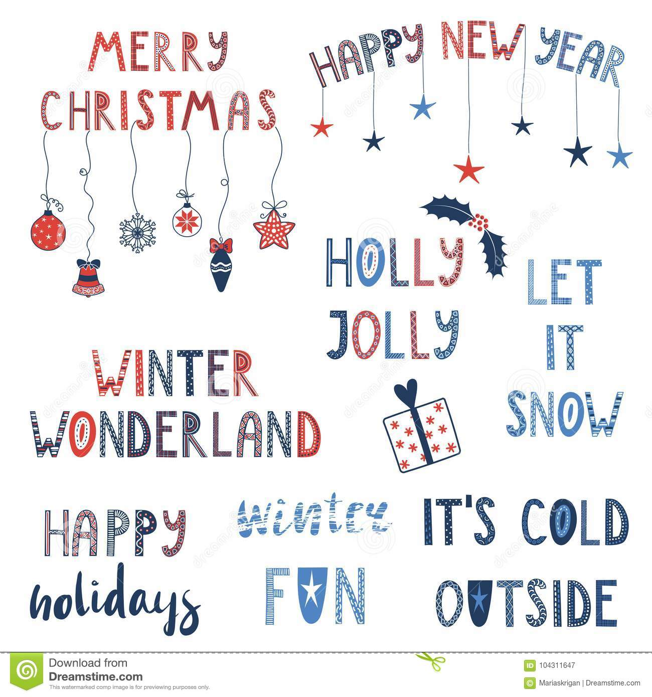 winter and christmas quotes set