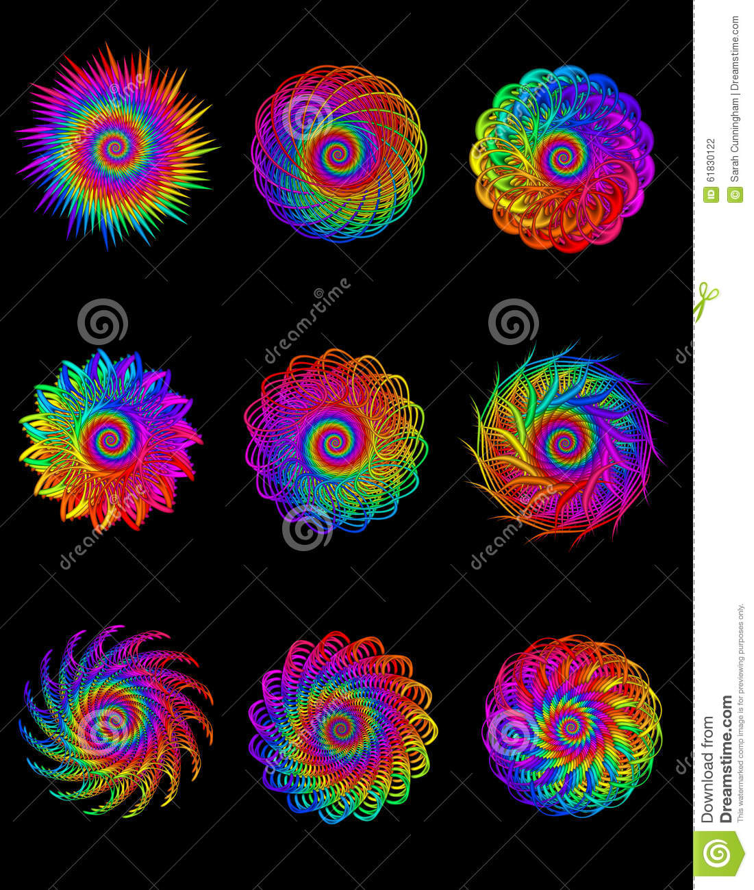Collection Digital Art Abstract Rainbow Spiral Motifs