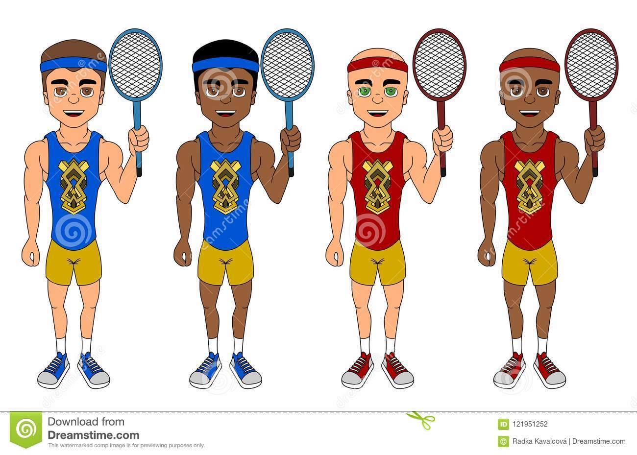 Collection of diverse tennis players cartoon