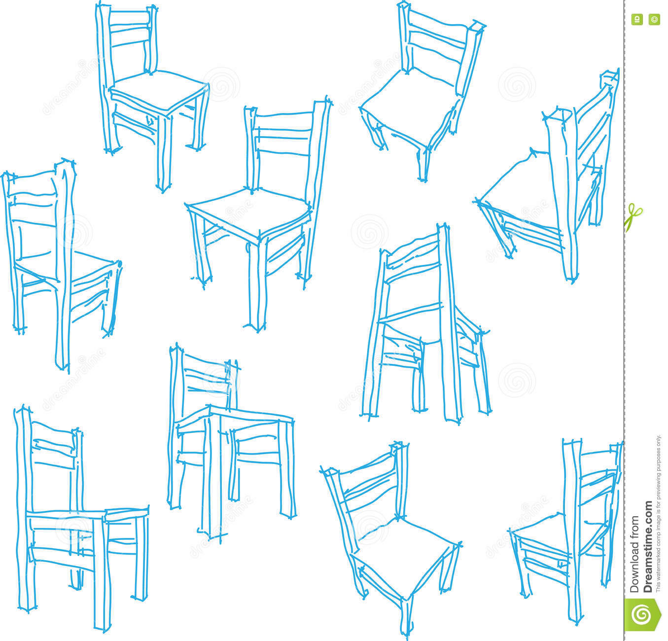Collection Of Drawings Of Simple Chair Stock Vector Illustration