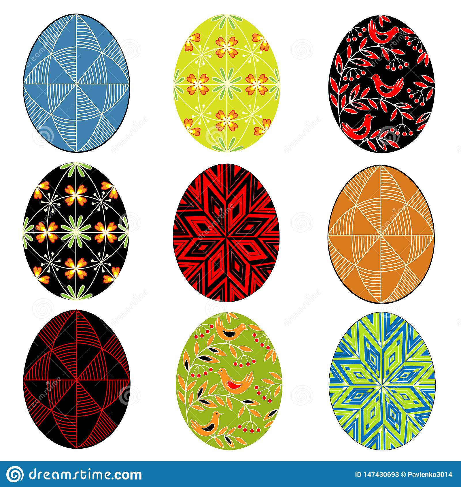 Collection. Easter egg with painted ornament. The symbol of Easter. An ancient tradition of people. Vector illustration set