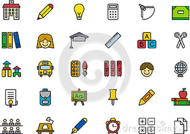 Collection Of Education Icons Or Symbols Stock Vector Illustration