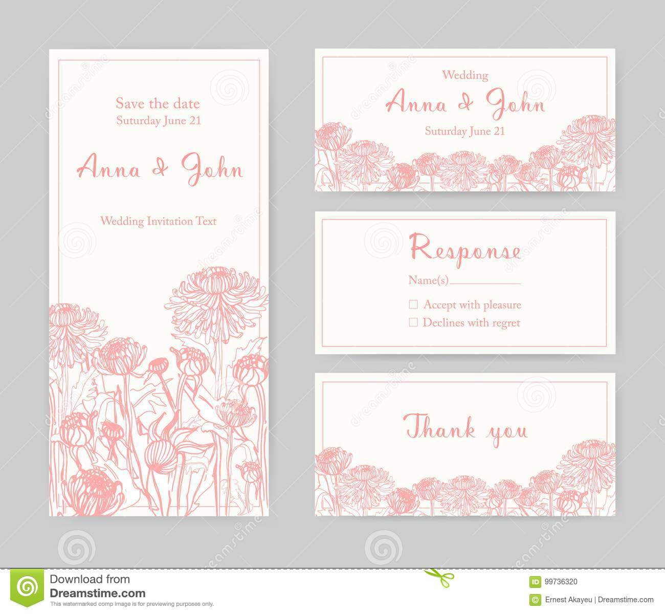 Collection of elegant templates for flyer save the date card or collection of elegant templates for flyer save the date card or wedding invitation with beautiful japanese chrysanthemum flowers hand drawn with pink lines stopboris Gallery
