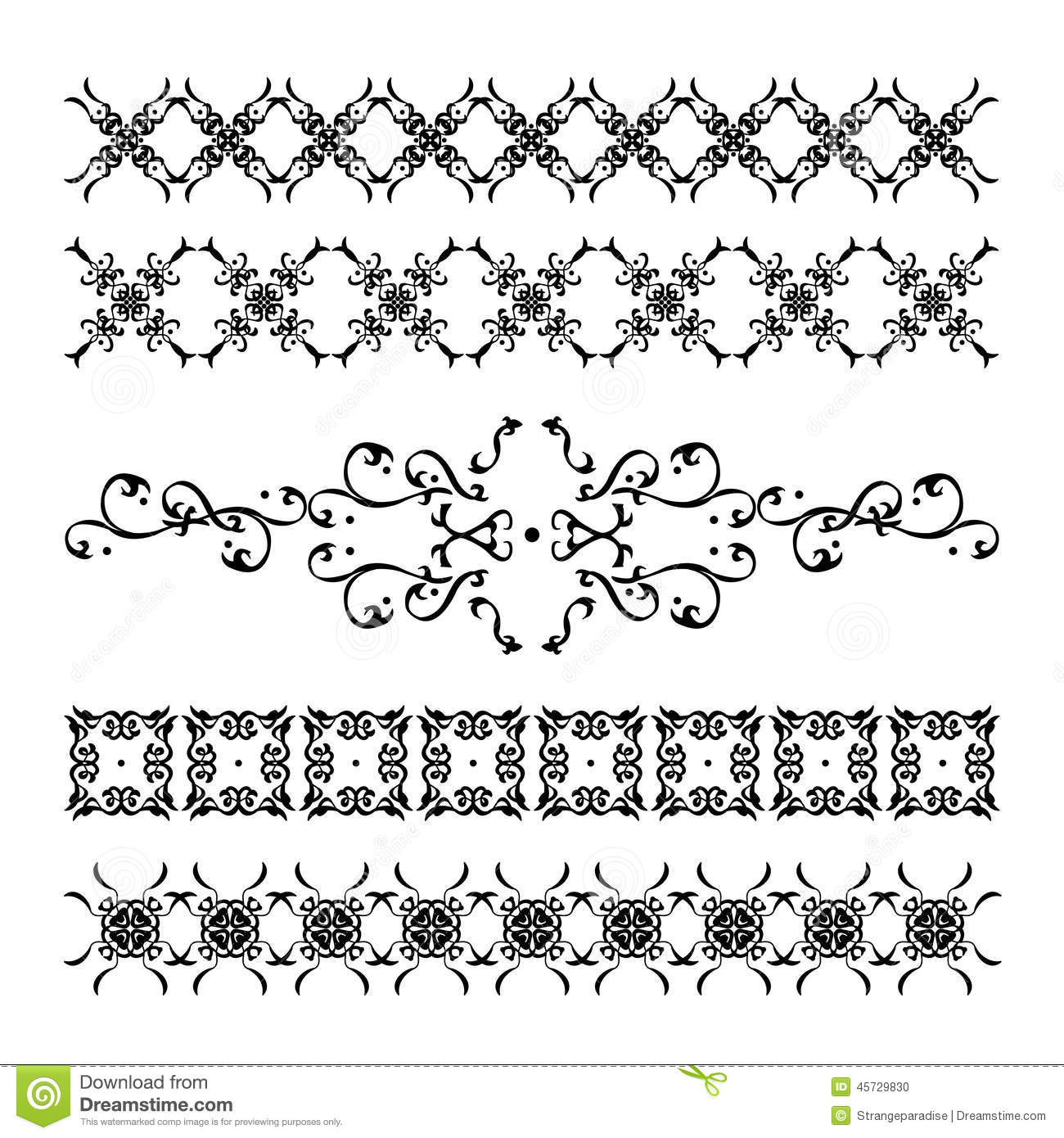 Decorative frames set download free vector art stock graphics - Collection Of Elegant And Vintage Calligraphic Decorations