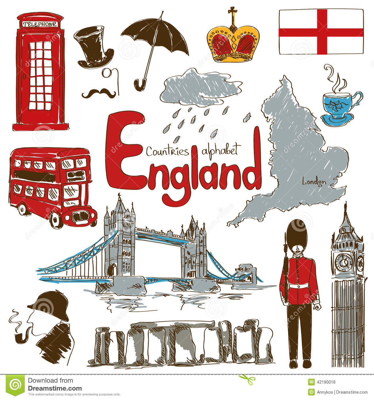Fun colorful sketch collection of England icons, countries alphabet.