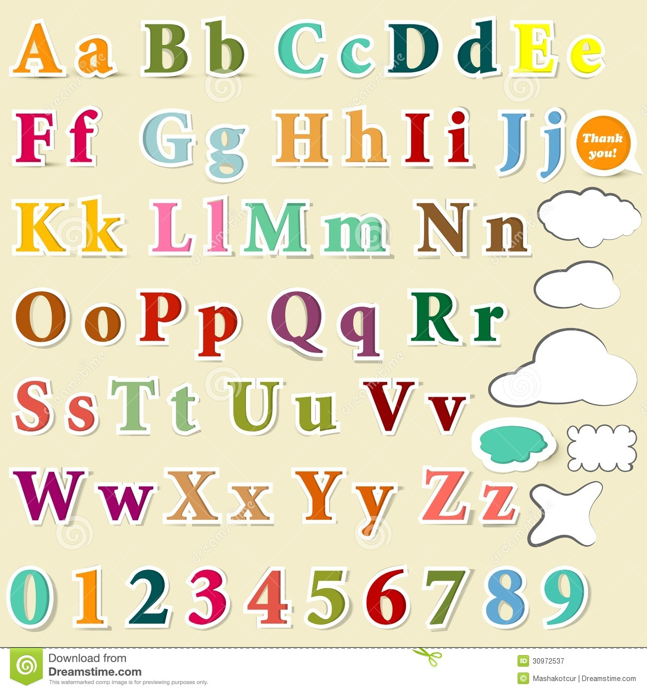 collection of english letters colorful alphabet for design