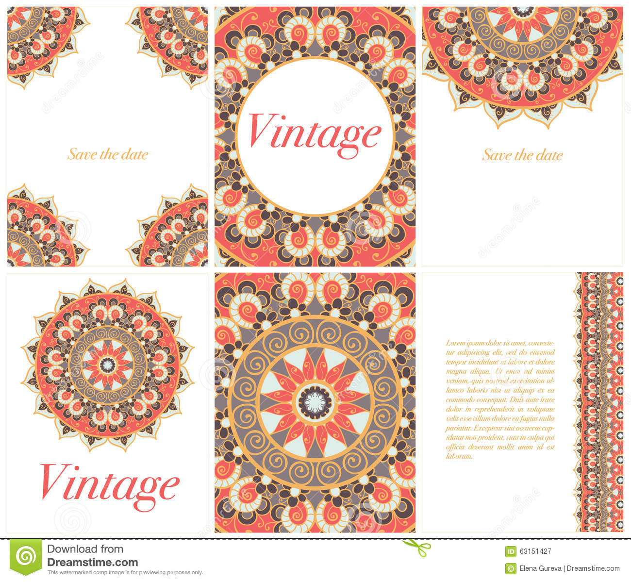 collection of ethnic cards and wedding invitations with indian ornament  stock illustration