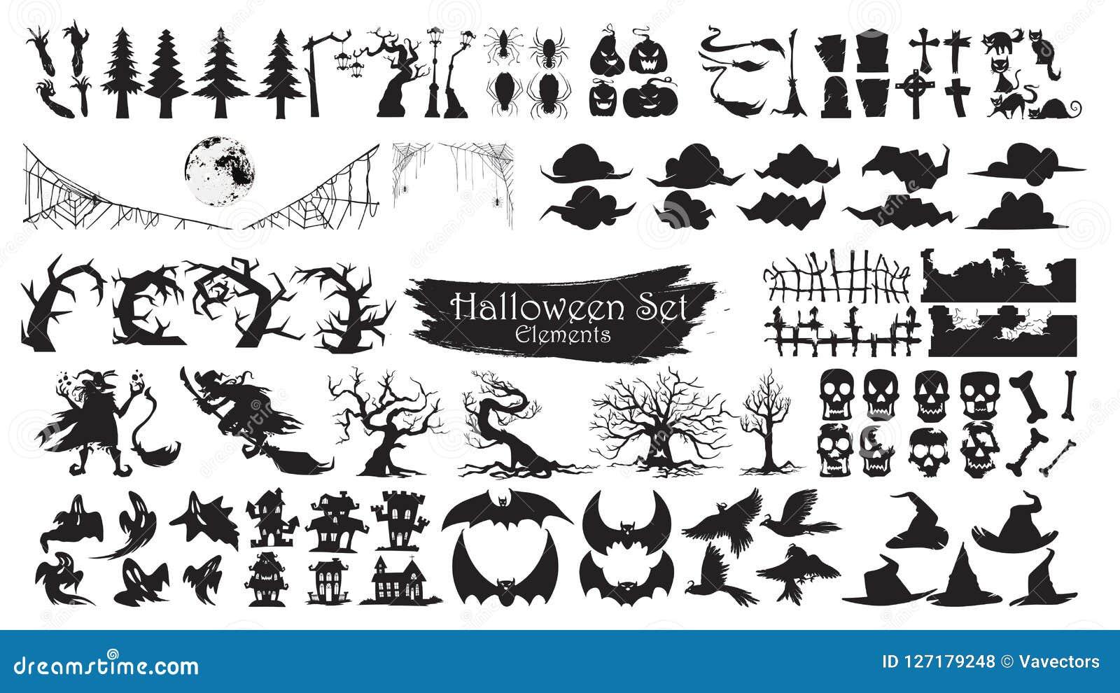 Collection fantasmagorique de vecteur d éléments de silhouette de Halloween d isolement