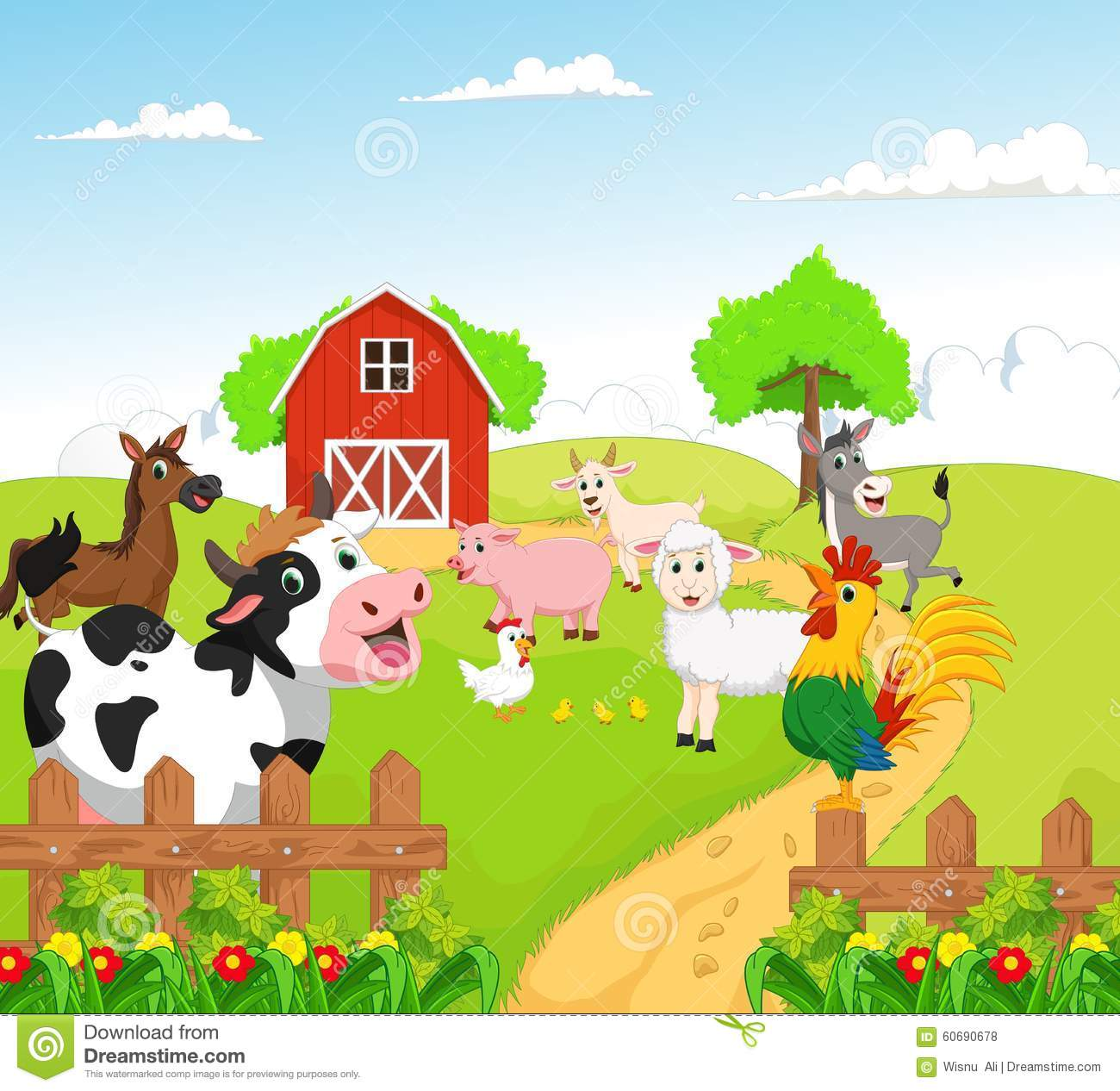 Free Barn Plans Collection Of Farm Animals With Background Stock Vector