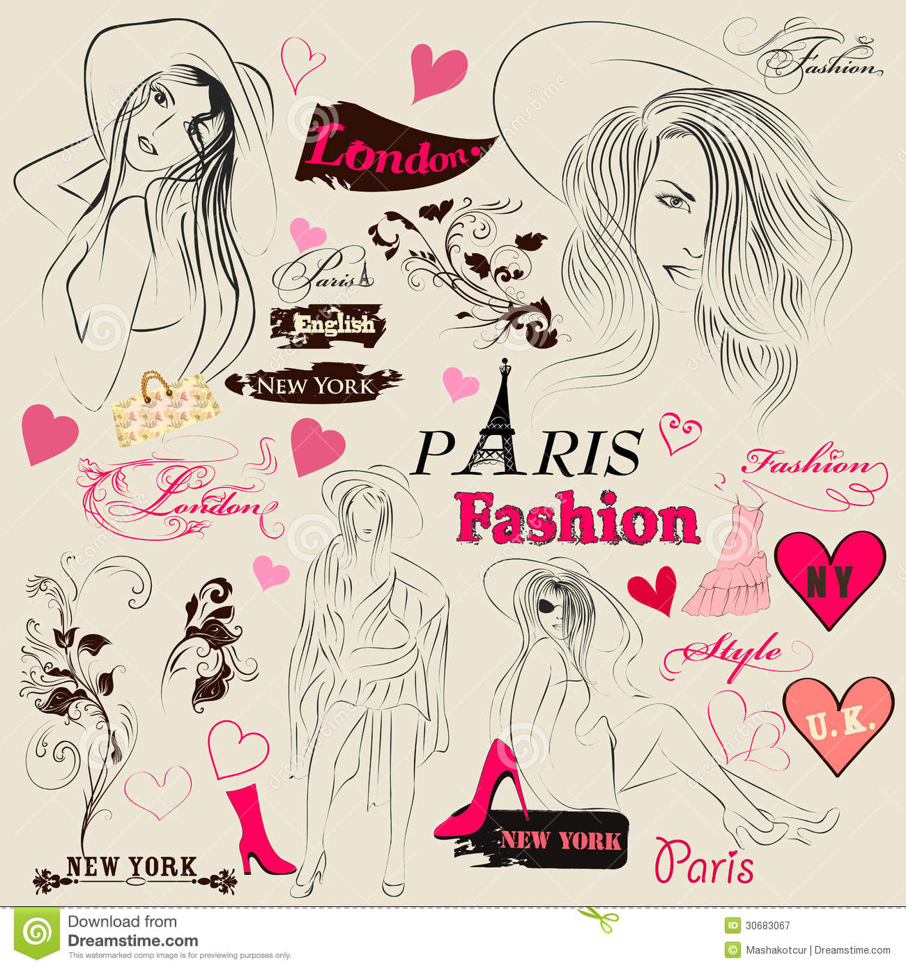 Collection Of Fashion Elements Sketch Girls And