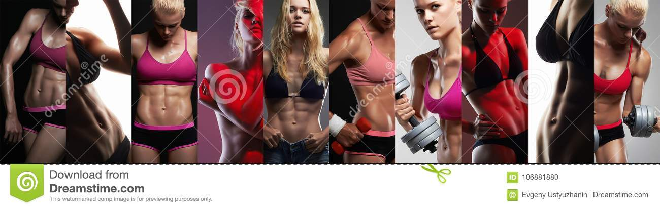 Collection of female sport bodies. Collage muscular girls