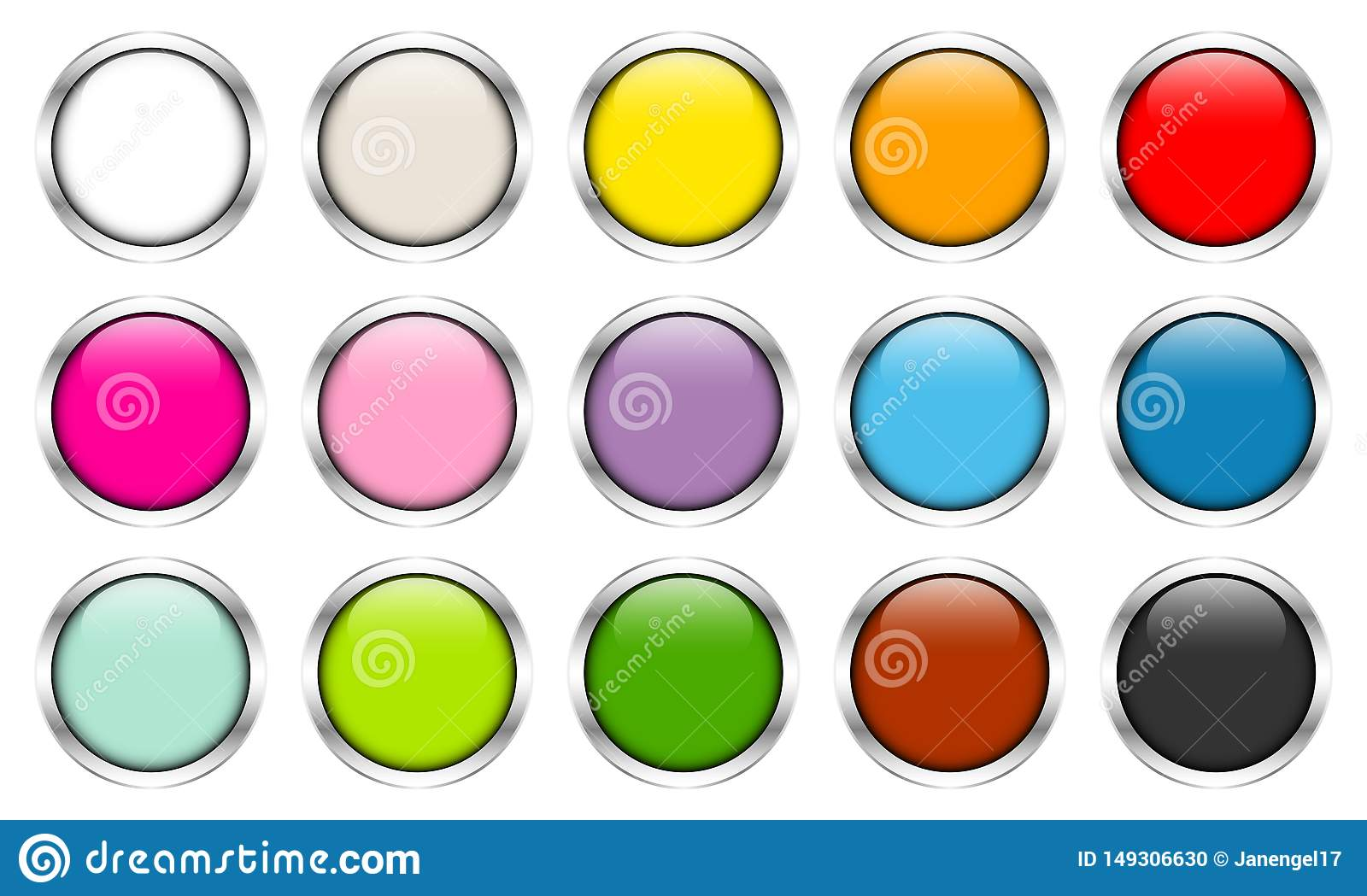 Fifteen Glossy Buttons Color Silver Frames