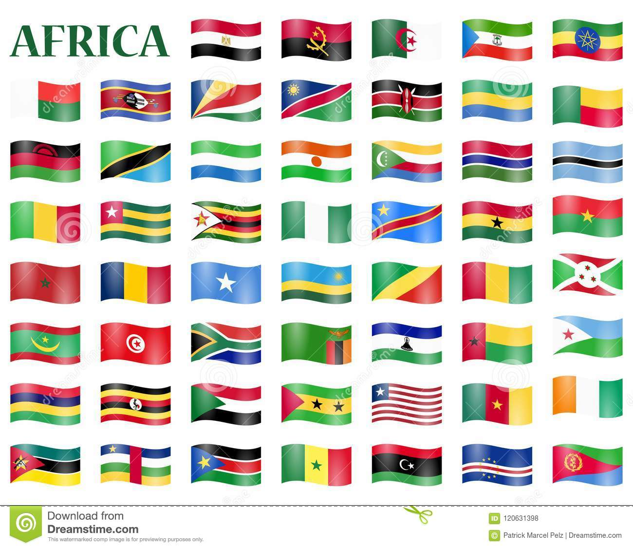 all country flags of africa stock vector illustration of banner