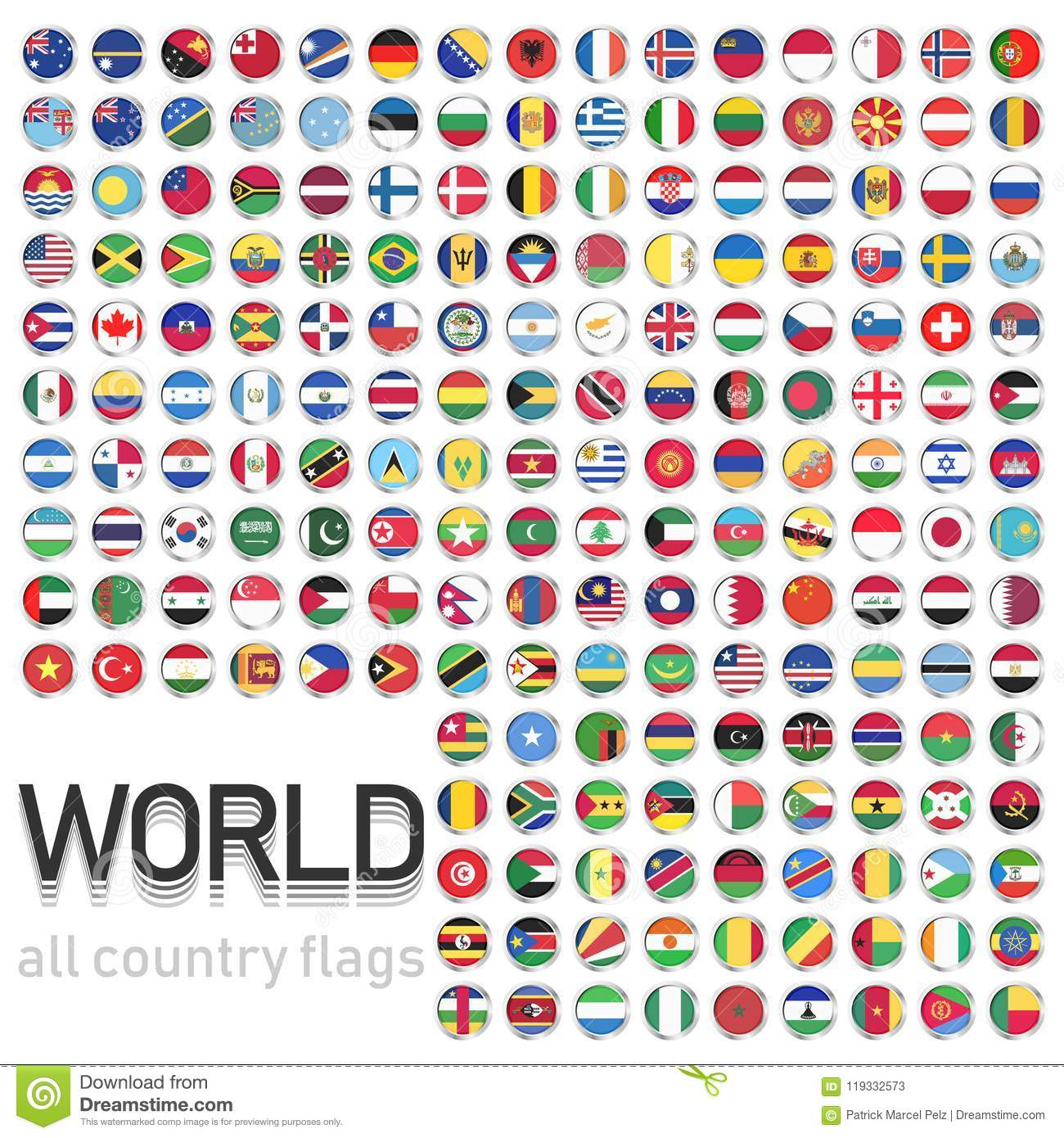 Countries flags around the world in PDF download for free