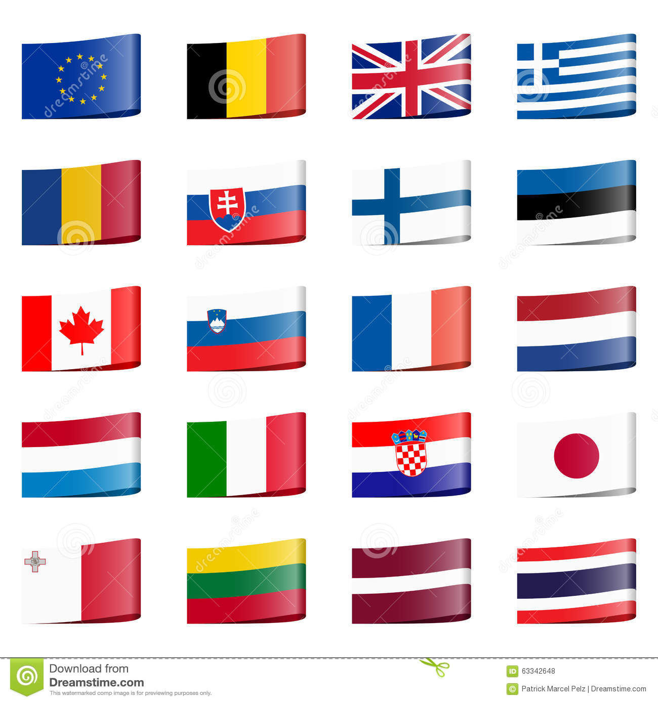 collection flags national countries stock photo