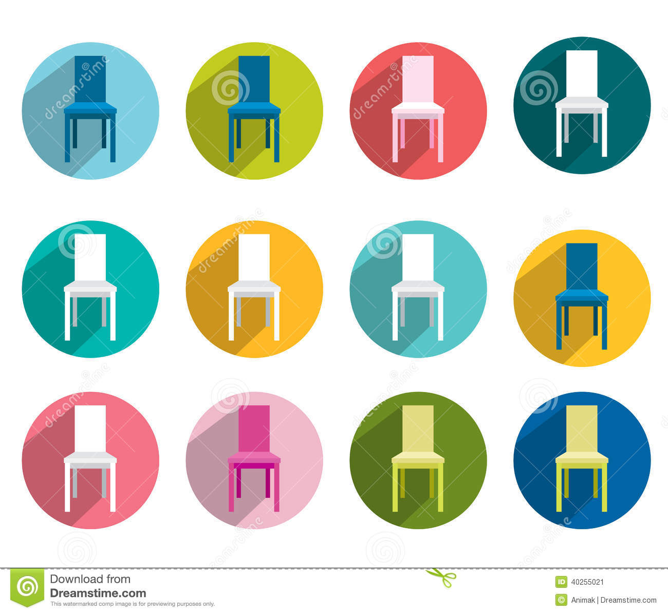 Collection Of Flat Colorful Chair Stock Vector Image