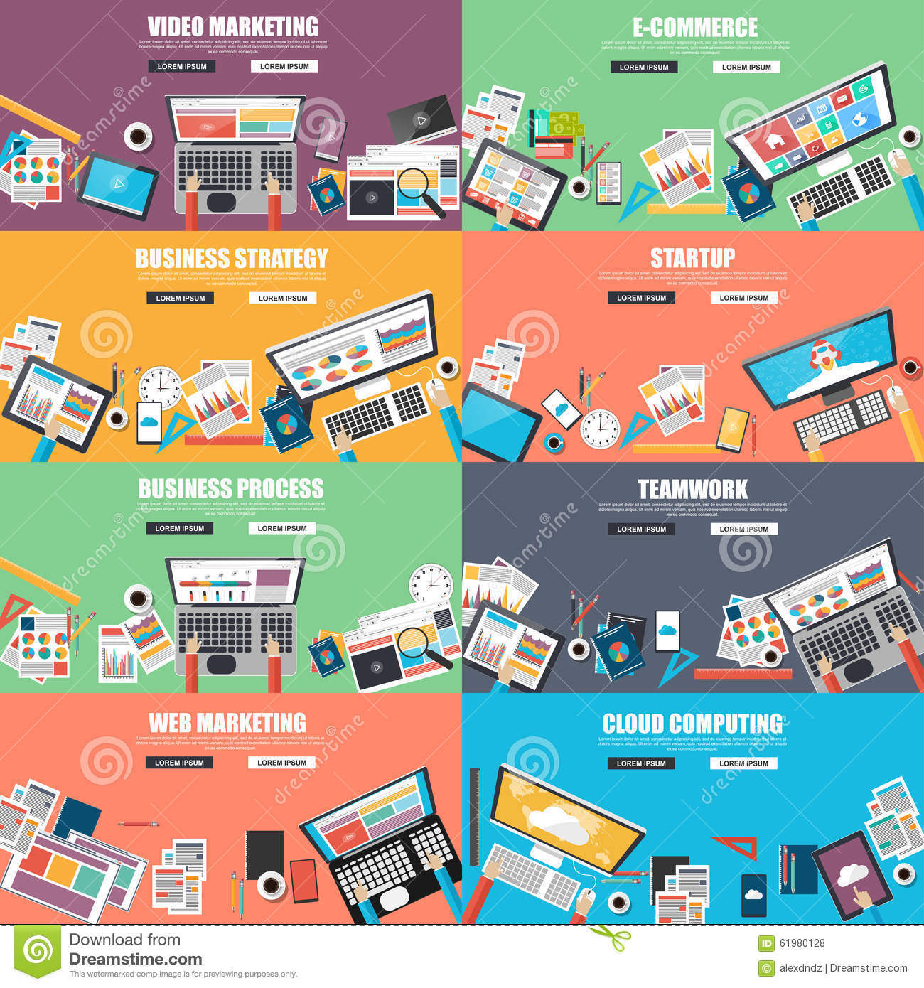 Collection of flat design concept for business
