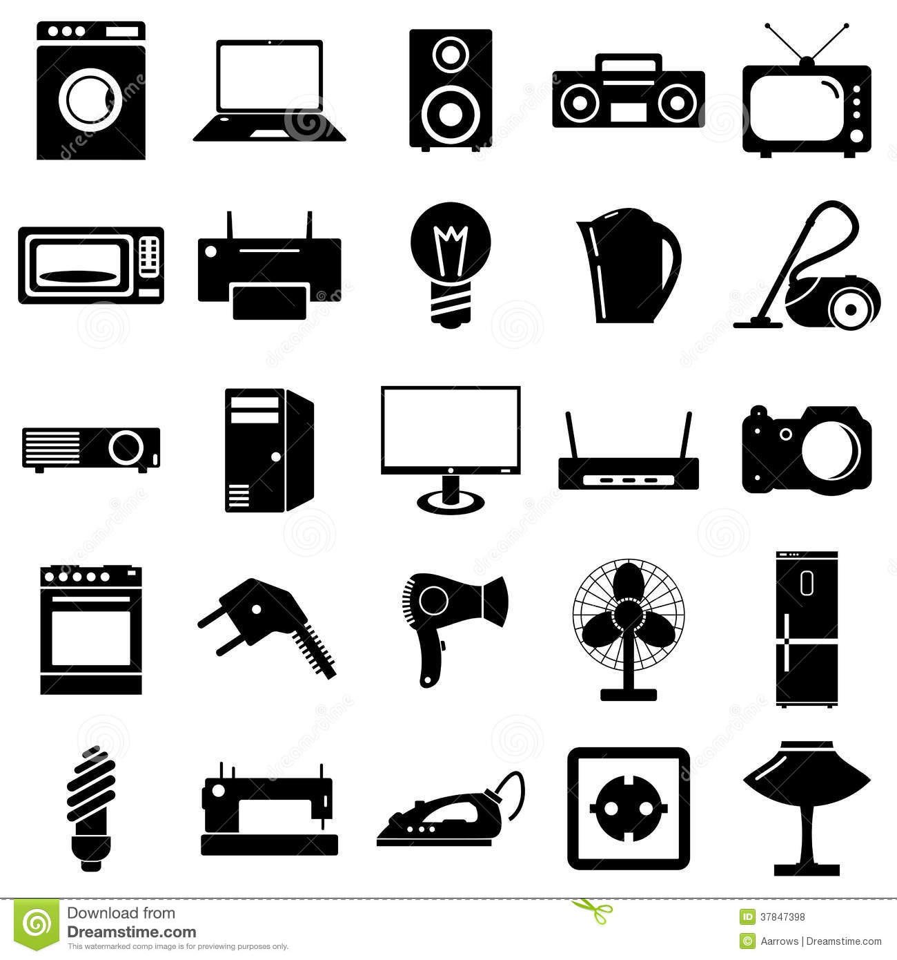 Collection Flat Icons Electrical Devices Symbols Royalty