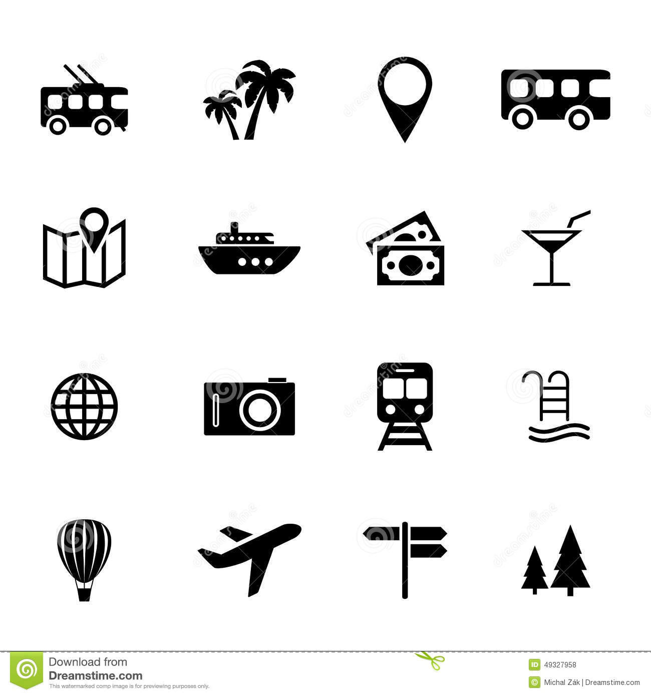 Set of simple black flat icons related to tourism, means of transport ...