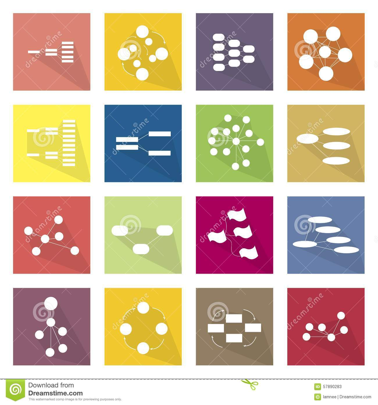Collection Of 16 Flow Chart Diagram Icons Stock Vector