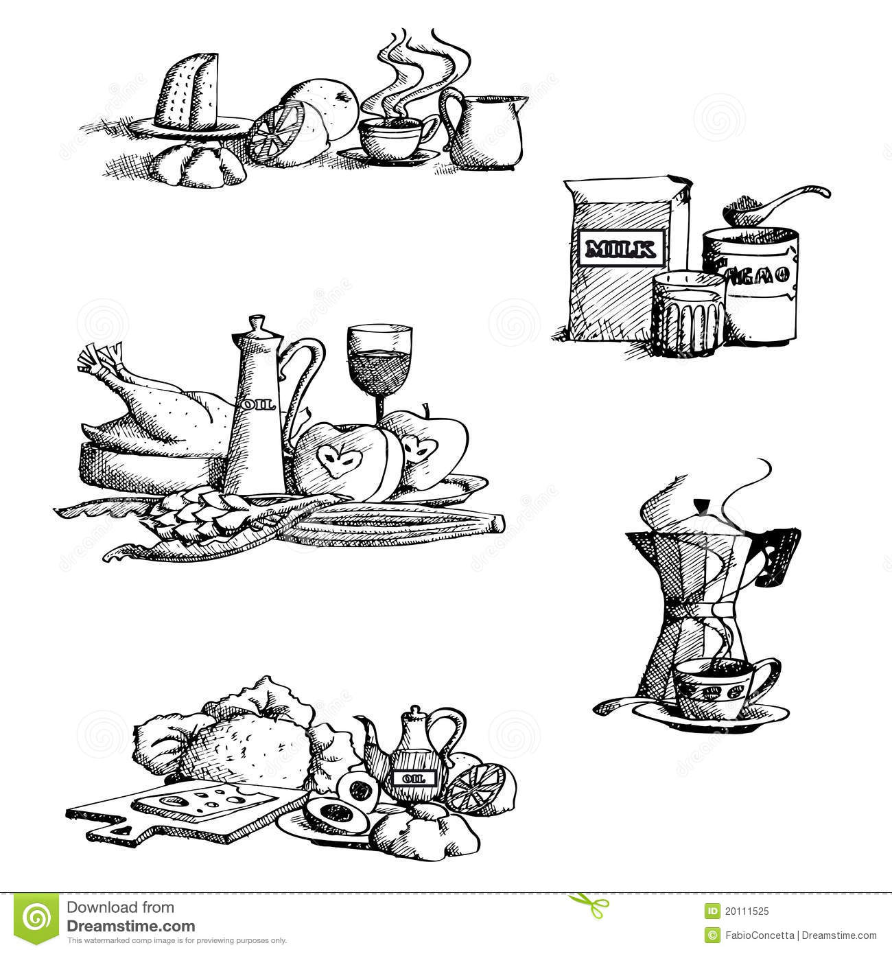 collection of food stock vector  illustration of drawings
