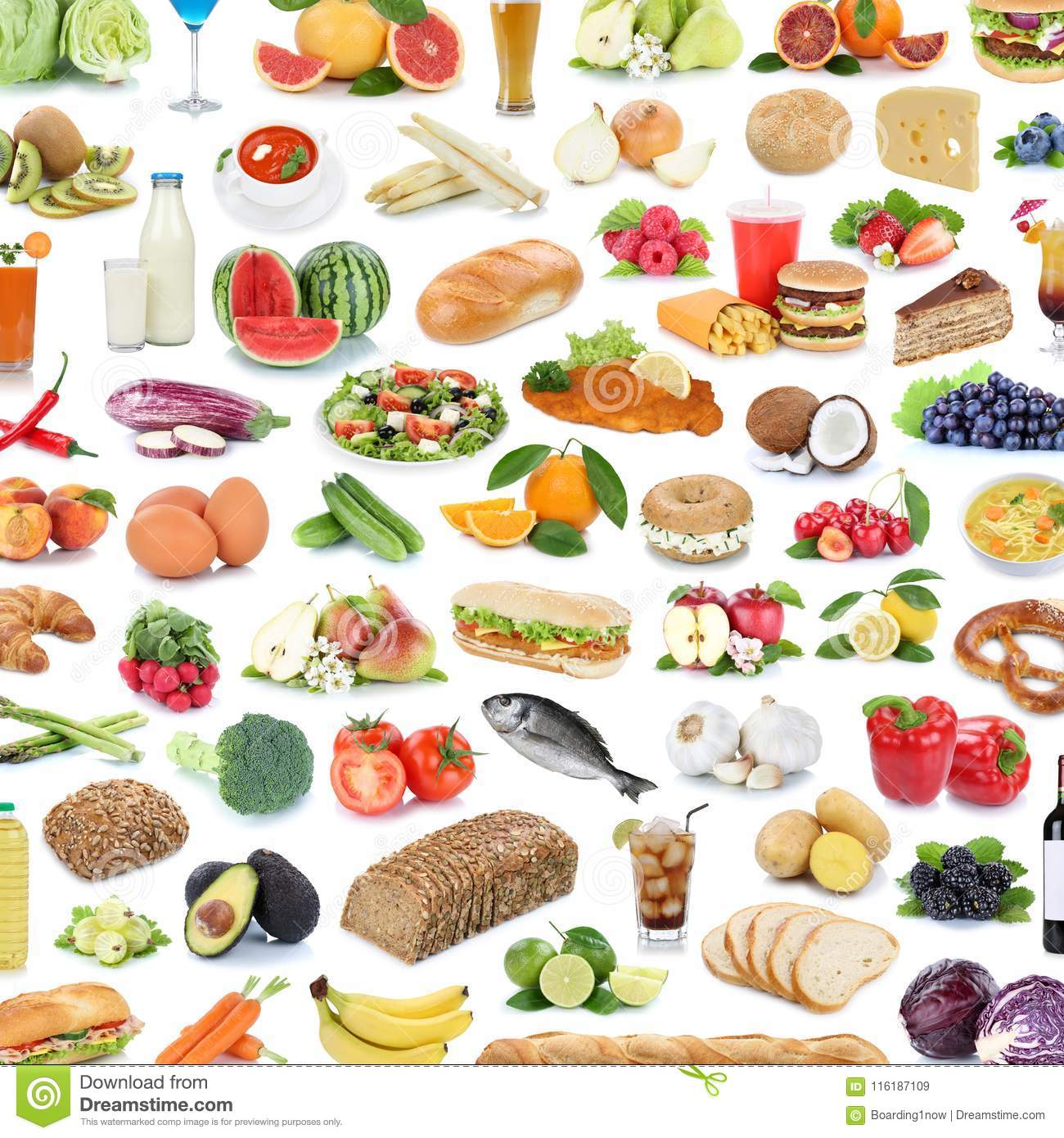 Collection of food and drink background collage healthy eating f