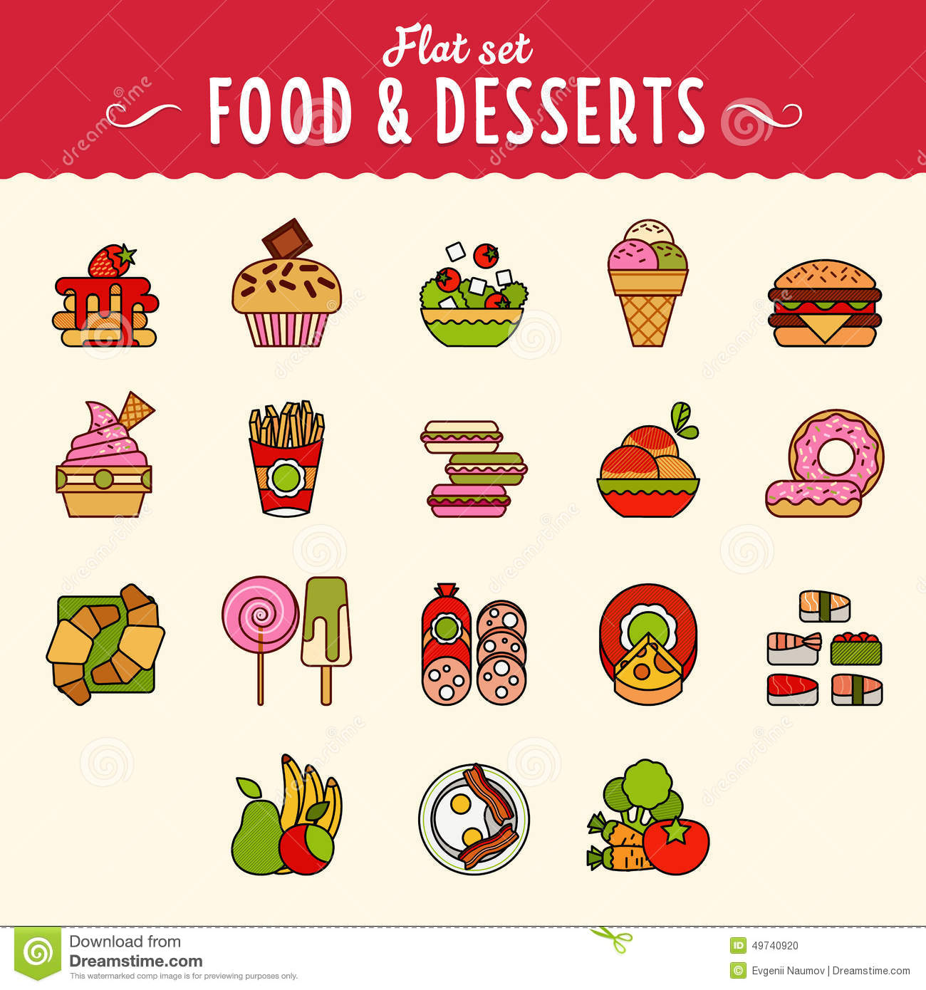 Cooking Concept Flat Icons Set Stock Vector: Collection Of Food Icons In Flat Design Style Stock Vector