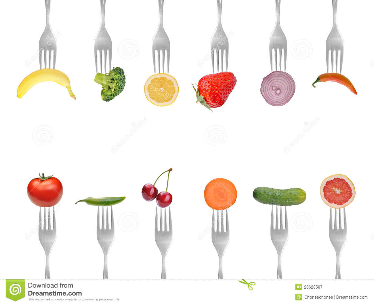 Collection of forks with vegetables and fruits