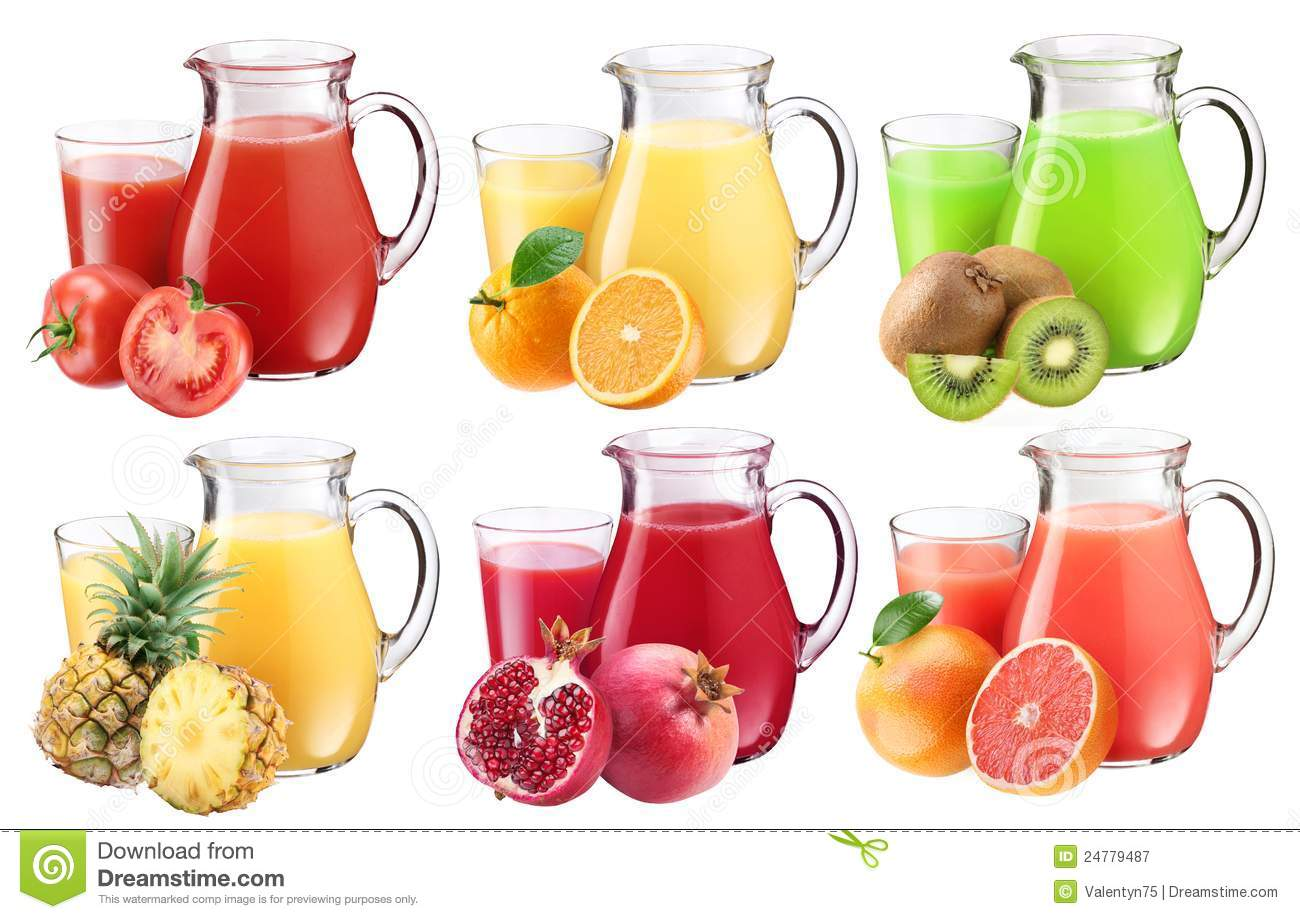 Collection of fresh juices in pitchers.