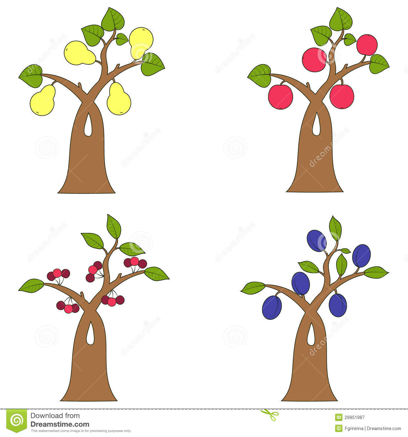 Collection Of Fruit Trees Royalty Free Stock Photography ...
