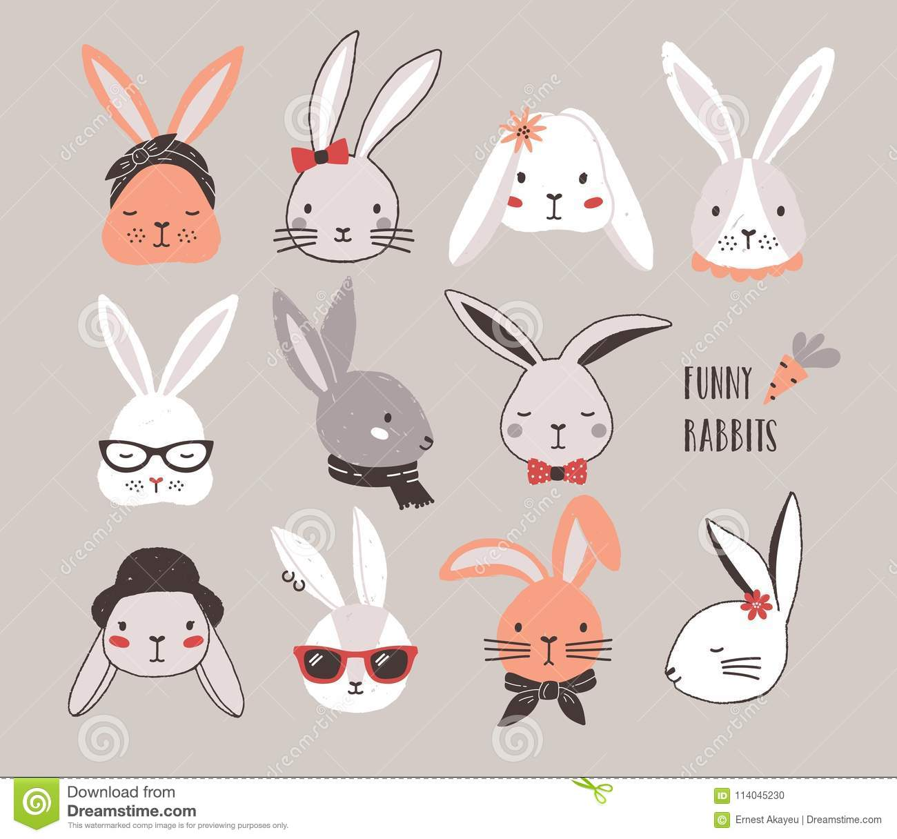 Collection of funny bunnies. Set of cute rabbits or hares wearing glasses, sunglasses, hats and scarves. Bundle of heads
