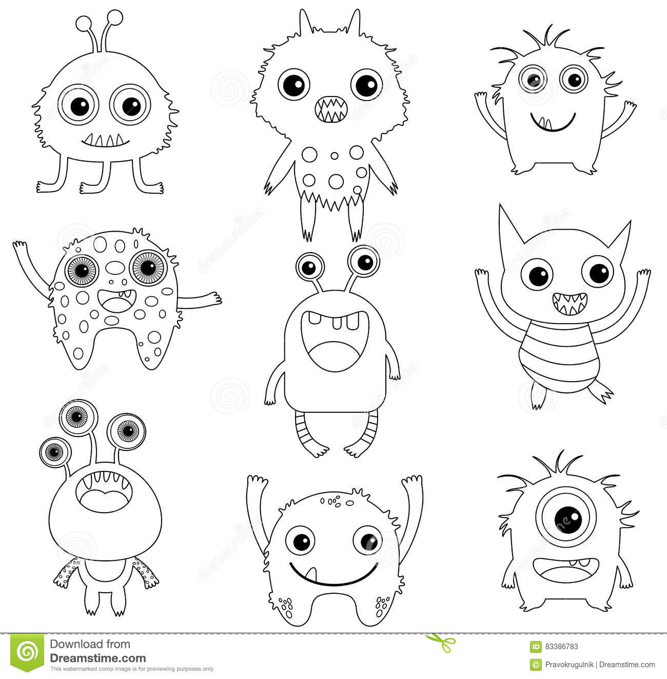 a collection of funny and cute monsters