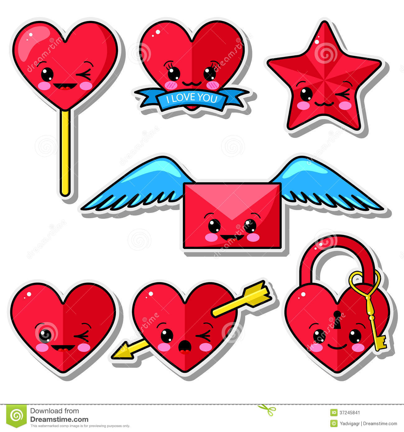 Collection Of Funny Kawaii Love Elements Stock Image