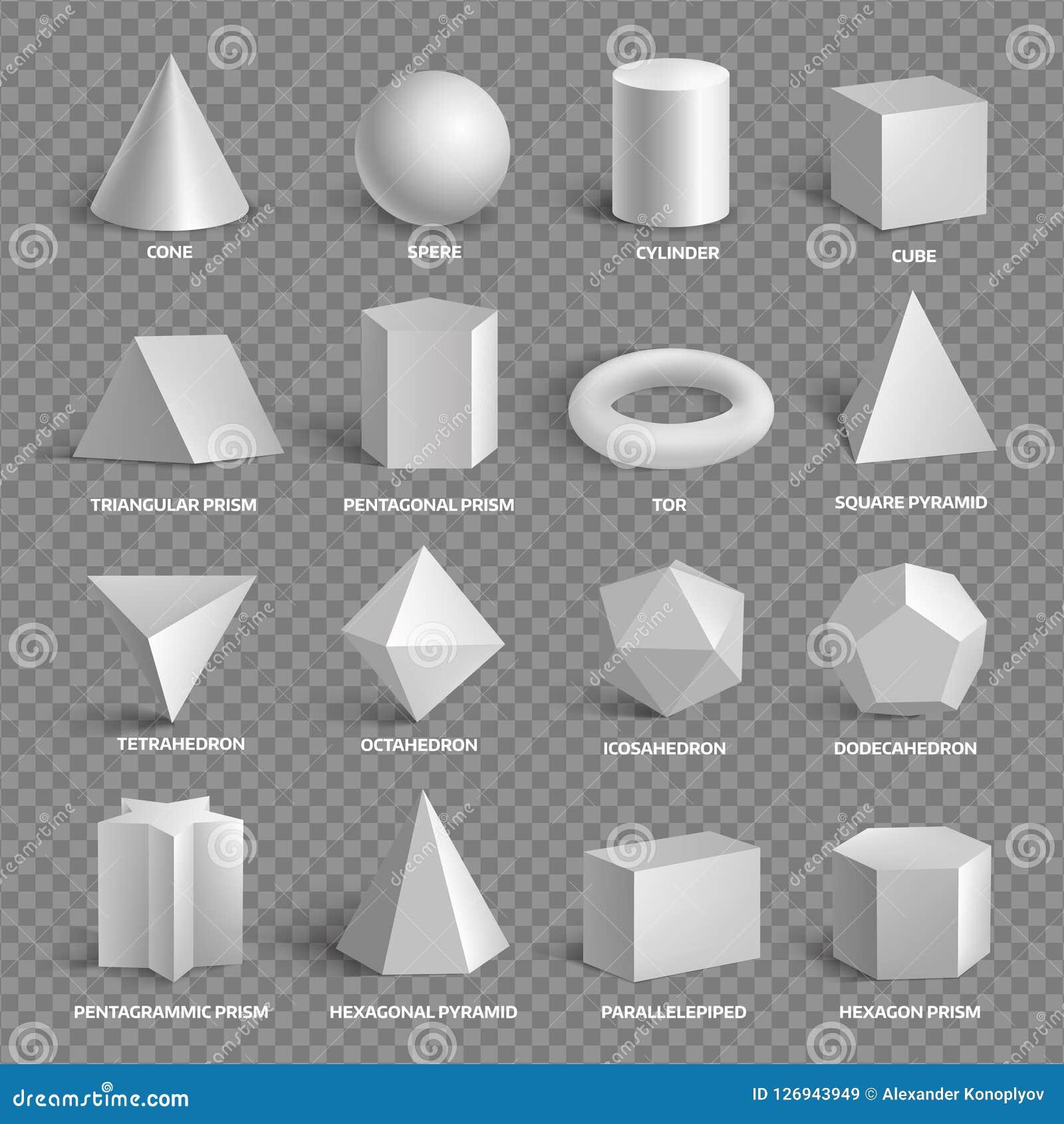 Collection géométrique de base des formes 3D avec des noms