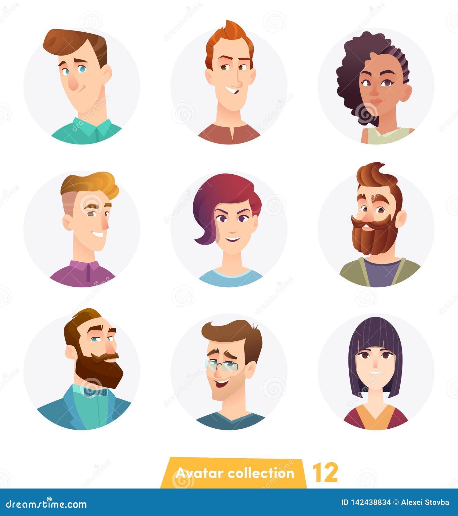 Collection gaie d avatar de personnes Visages d utilisateur Style moderne ? la mode Conception de personnage de dessin anim? plat
