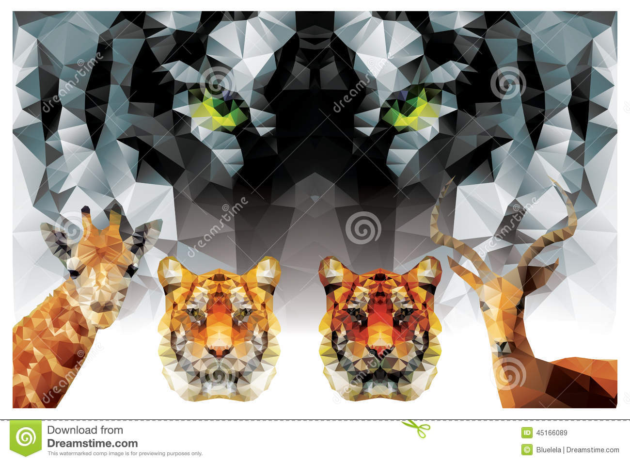 Tiger head triangular icon geometric trendy stock vector image - Collection Of Geometric Polygon Animals Tiger Giraffe Royalty Free Stock Images