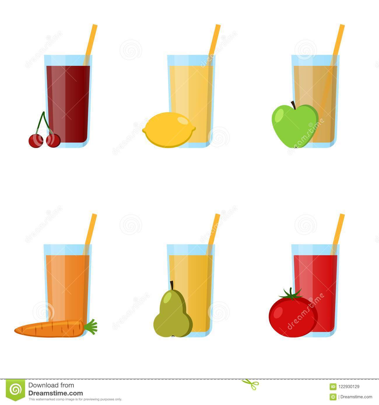 Collection glass juices from fruits and vegetables infographic elements. The best for design, textiles, posters, web