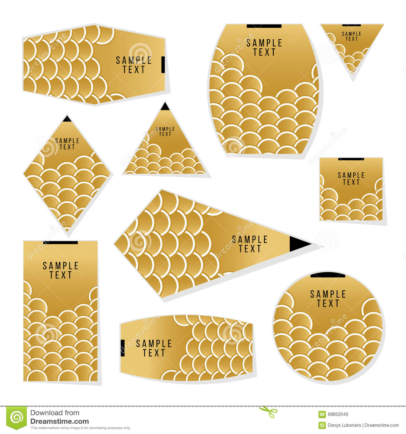 collection of gold fish or snake scales cards template for