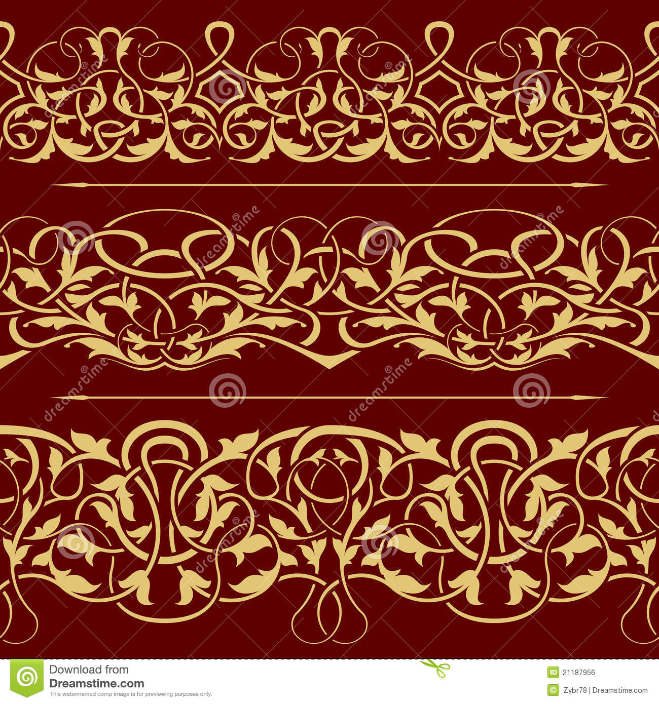 Collection of gold floral seamless border