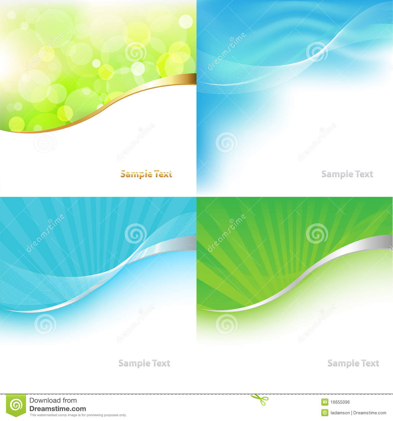 Collection Green And Blue Background. Vector