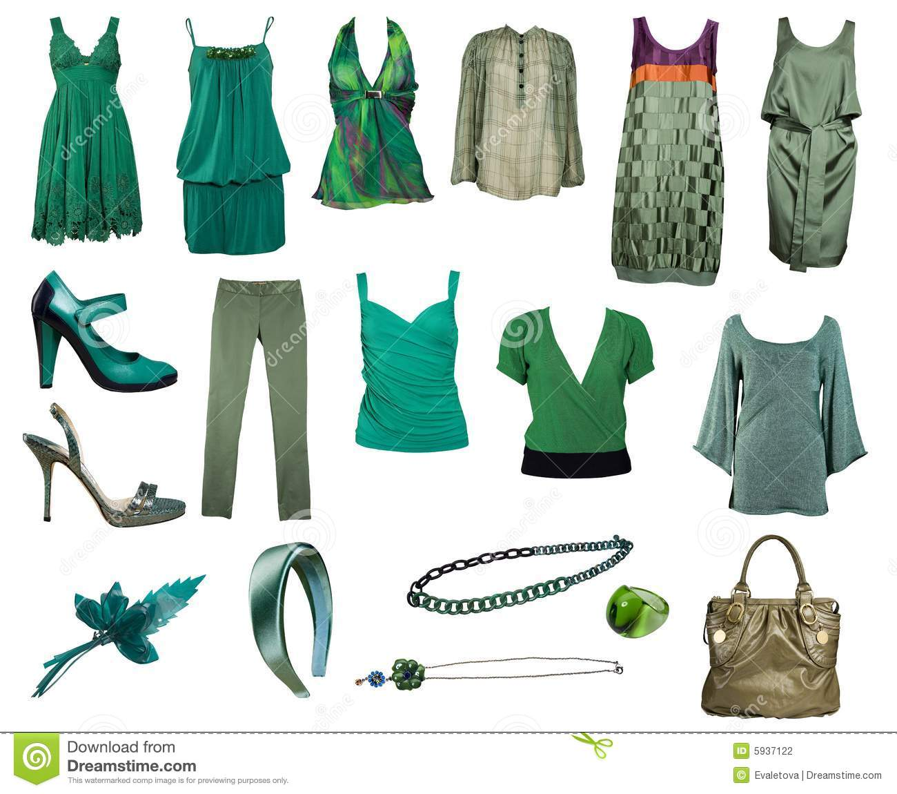 Collection Of Green Clothes And Accessories Stock ...