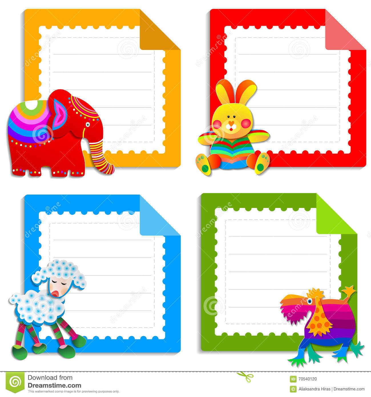 Collection Of Greeting Cards For Kids Stock Vector Illustration Of