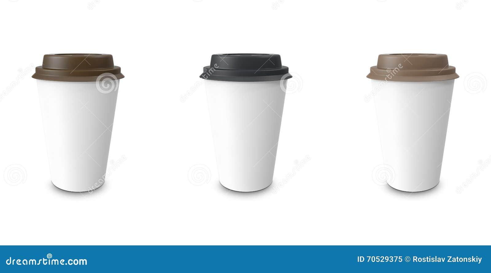 Collection, groupe, ensemble, café à emporter avec le support de tasse D isolement sur un fond blanc
