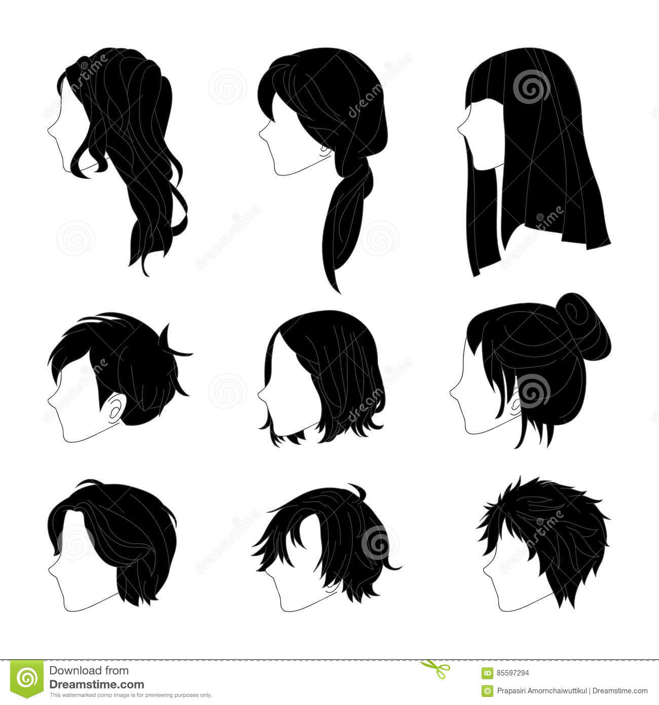 collection hairstyle for man and woman black hair color