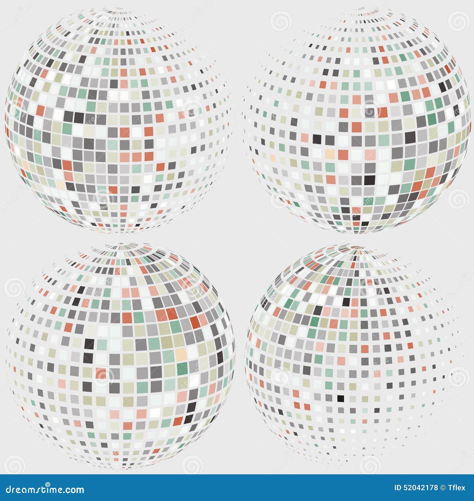 Dot Sphere Logo Template Globe Vector Icon: Collection Of Halftone Sphere Vector Logo Template Stock