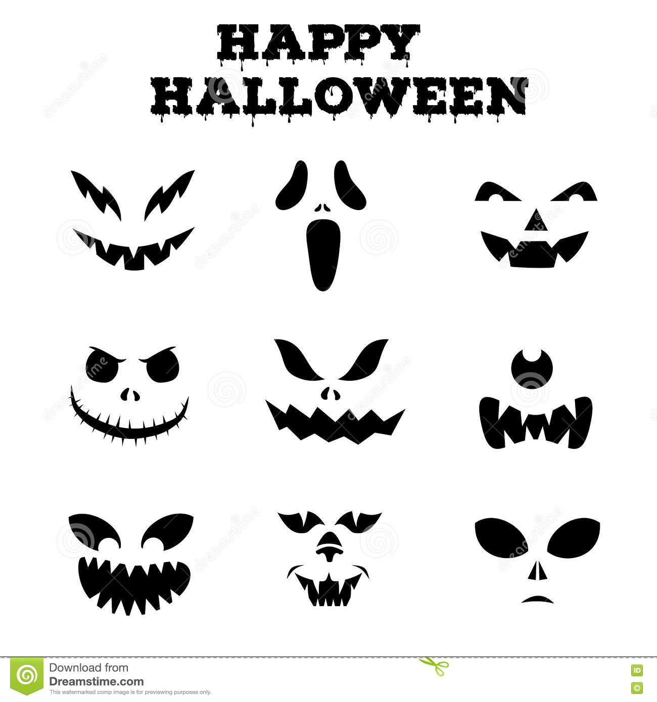 collection of halloween pumpkins carved faces silhouettes black - Halloween Pumpkin Carving Faces