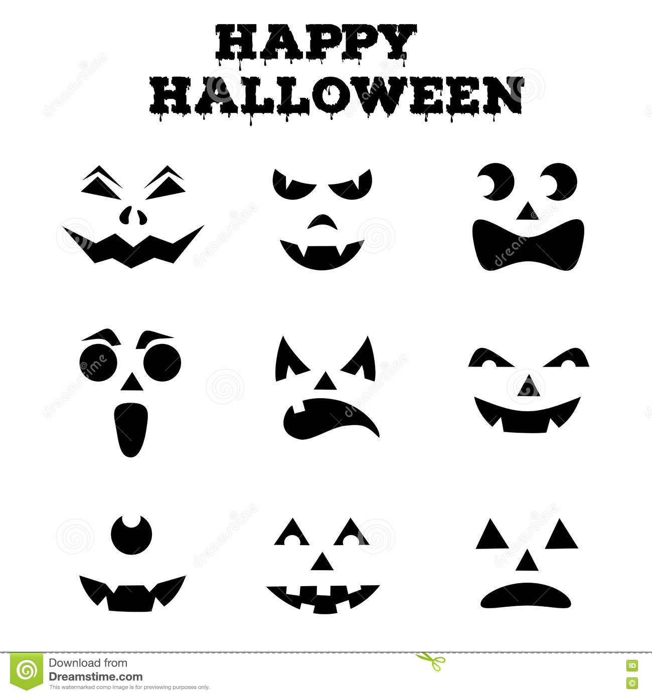 Collection Of Halloween Pumpkins Carved Faces Silhouettes. Black And ...
