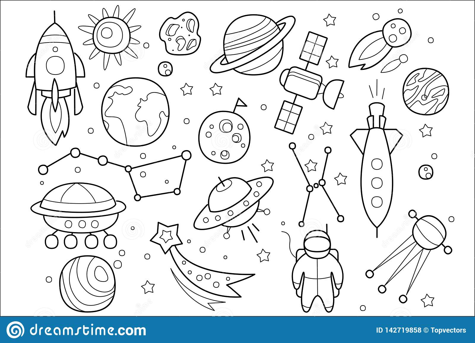 Vector Set Of Hand Drawn Space Objects Flying Saucers Of Aliens Spaceship Rocket Astronaut Cosmic Satellite Stars Stock Vector Illustration Of Ship Galaxy 142719858